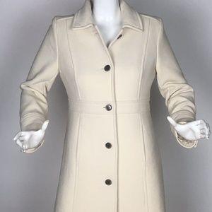 J Crew Coat Symphony Double Cloth Wool Ivory Sz 10